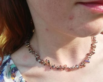 Rusty colored Glass shard necklace