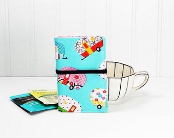 Tea wallet with campers - fabric teabag caddie - tea bag case - 4 pockets - gift for tea drinker - gift for camper