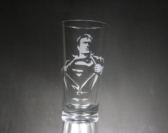 Superman Etched Glass, Superhero Glass, Super Hero, Personalized Gift, Custom Gift, Glassware.