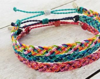 Surfer Bracelet or Anklet, Braided Bracelet or Anklet, Friendship Bracelet, Waterproof Wax Cord, Boho Anklet, Stacking Bracelets, Flat Braid