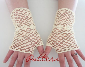 PDF Crochet Pattern Bridal Fishnet Fingerless Gloves With Diamonds Wedding Thread Crochet Pattern