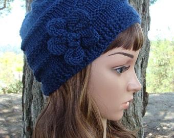 DIY- Knitting PATTERN #1: Women's Knit Hat Pattern, Includes hand knit flower pattern, Size Teen/ Adult - PDF Digital Pattern