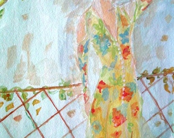 Golden light dress Watercolor. ORIGINAL SOLD