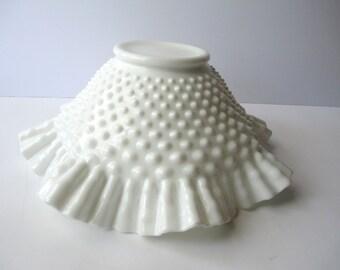 Vintage Fenton Milk Glass Hobnail Serving Bowl