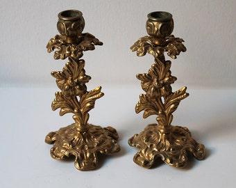Gold Candle Holder Set, Vintage Decor, Gold Wedding Gift Candlestick Candelabras