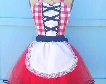Red Riding Hood costume,  Little Red Riding Hood CAPE, Halloween costume aprons, women's red cape, Lover Dovers, fairy tale costume set