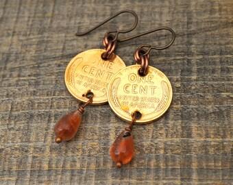 Sunstone and penny earrings, wheatie pennies, Niobium earwires, Boho style