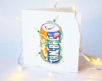 Irn Bru Scottish Christmas Card - Fairylight Illustration Festive Greetings Card