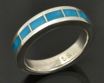 Turquoise Wedding Ring in Sterling Silver by Hileman Silver Jewelry, Turquoise Wedding Band, Turquoise Ring for Women