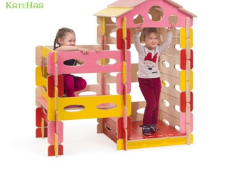 Build & Play wooden play house set for kids