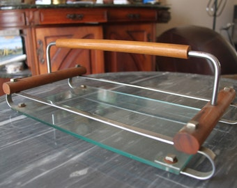 Tray serving tray-50 years vintage wood glass and chrome for appetizer, cheese...