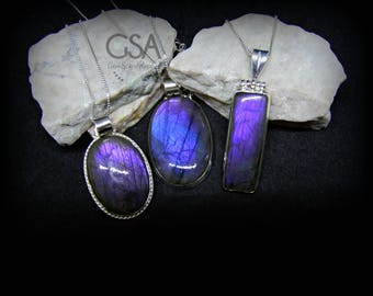 Labradorite Necklace//Sterling Silver Labradorite Necklace//Labradorite Pendant//Purple Flash Labradorite//Rare Genuine Purple Labradorite