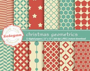 "christmas stocking ""Christmas Geometrics"" digital scrapbook paper 12x12 Printable Xmas quatrefoil geometric hexagon pattern background"