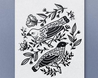 Tattoo bird print, tattoo flash, folk art, folk bird art, bird illustration, black and white bird print, dark bird print, traditional tattoo