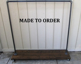 clothing rack, garment rack, reclaimed wood, clothes rack, clothing storage, East Village, Industrial, pipe clothing rack, Made to order