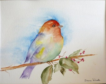 "ORIGINAL WATERCOLOR PAINTING ""Pretty Bird"" Double Matted 20"" X 16"" Ready for Frame.  Bird Blue Bird"