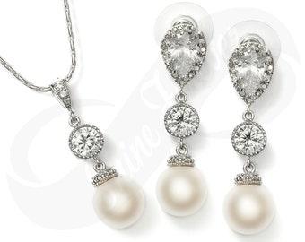 Bridesmaid Earings and Necklace Set Bridal Pearl Earrings Necklace Set White Pearl Earrings Necklace Set Bridal Jewelry Bridesmaid Gift