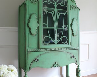 SOLD!!! CUSTOM FINISH for Anh - Antique Jacobean Hand Painted Cottage Chic Shabby Cupboard China Hutch Display Cabinet Antique Green Finish