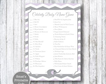 Purple & Gray Chevron Elephant Baby Shower Celebrity Baby Name Game Quiz - Printable Baby Shower Games - Celeb Baby - Gender Neutral