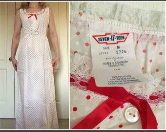 Vintage 1970s Seven-Teen Polka Dot Full Length Nightgown - Size Medium