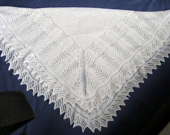 Square,Traditional Lacy white handknit baby shawl