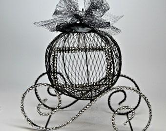 Wedding Centerpiece, Cinderella Wedding Coach, Black and Silver Cinderella Wire Carriage, Sweet 16 Centerpiece, Princess Centerpiece