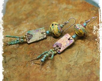 Gypsy Earrings for Women, Wabi Sabi Jewelry, Polymer Clay Earrings, Modern Tribal Earrings, Rustic Boho Earrings, Hippie Earrings