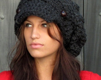 Slouchy Hat Winter Hat Womens Satin Lined Newsboy Hat Chunky Wool Cap Gifts for Her - Aliyah Cap Charcoal Gray or CHOOSE Your color