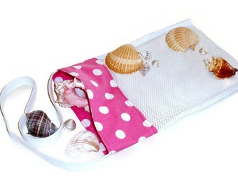Sea Shell Collecting, Mesh Beachcomber Bag, Beach or Pool Toy Bag, Pink Polka Dot Tote, Gift For Girls