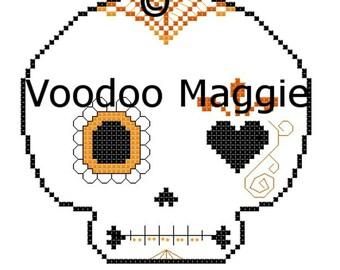 Sugar Skull cross stitch pattern - in oranges