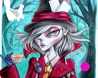 Digital stamp- Lucy Loo 'Mad Hatter'- 300dpi JPG/PNG  files -MAC0112