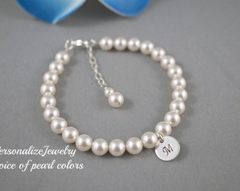 Bridesmaid pearl bracelet, Initial silver charm, Swarovski pearls - choice of colors, Maid of honor, Mother of Bride, Attendee gift, Peach
