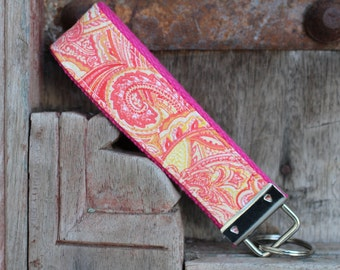 Key Fob/Keychain/Wristlet-Pink and Orange Paisley-READY TO SHIP