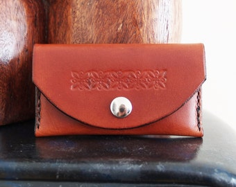 Leather business card holder, Handmade, hand stitched, genuine, brown