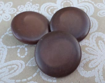 3 Big Dark Brown Vintage Buttons 1 1/4 Inch Coat Buttons