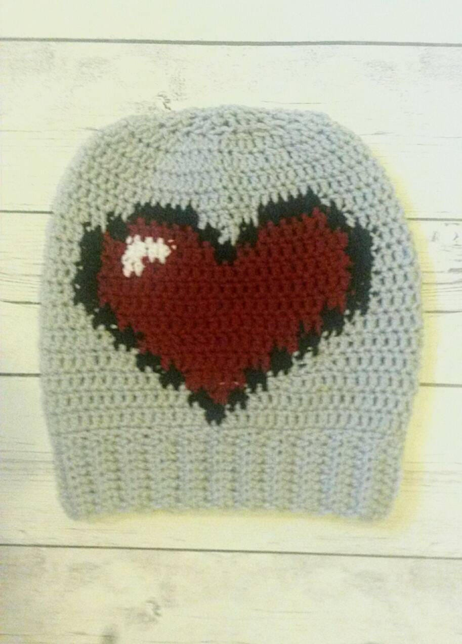 Heart Hat, Slouchy 8 Bit Heart Hat, Unique Gift under 30, Gray Hat with Red 8 Bit Heart , Gift for Gamer, Pixelated Design, Valentines Gift