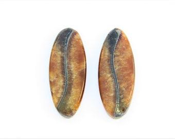 Simbircite-ammonite with pyrite Natural stone cabochon  (pair). 33х13х3 mm