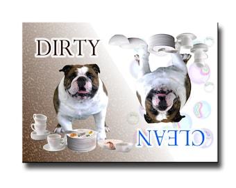 English Bulldog Clean Dirty Dishwasher Magnet No 1