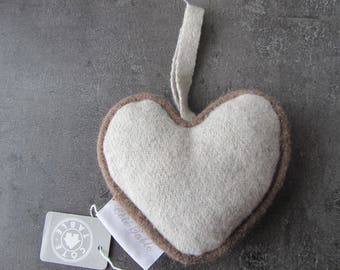 Love - Heart felt wool beige gray and Brown cord