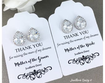 Stud Earrings Mother in Law Gift Cubic Zirconia Earrings Crystal Earrings Jewelry Mother of the Groom Gift Mother of the Bride Gift for Moms