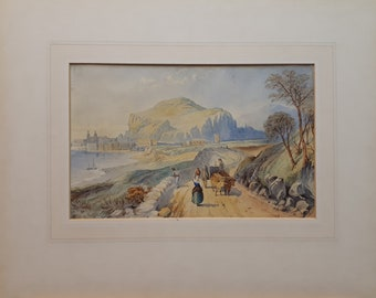 T L Rowbotham (1823–1875) Continental watercolour Irish artist listed antique painting Swiss landscape art special occasion gift small art