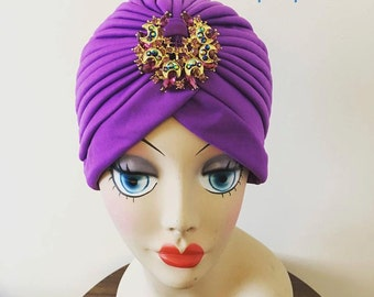 Purple Turban With Crystal Vintage Style Brooch