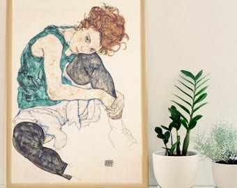 Seated Woman with Bent Knee (1917) Egon Schiele, Art Print, Giclee,