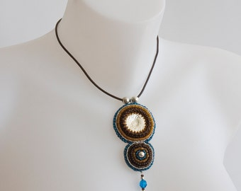 Pendant with Silver Cabochon, Bead Embroidered with Blue, Amber and Dark Brown Beads, on Brown Leather Necklace with Fringe Ends S116