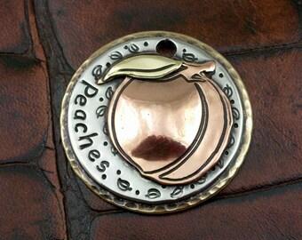 Custom Dog ID Tag Peach-Personalized Dog Collar Tag-Pet ID Tag-Peach Dog ID Tag