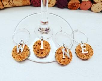 Personalized Wine Cork Wine Glass Charms, Bridal Shower Wine Favors, Wedding Wine Favors, Personalized Favors, Wine Cork, LasmasCreations