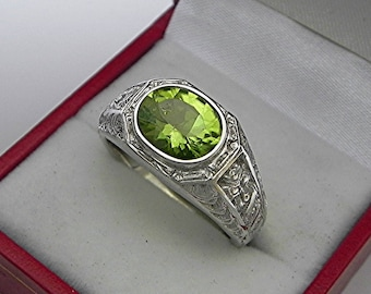 AAAA Peridot 10x8mm 2.38 Carats Heavy 14K White gold Antique Vintage  styled MAN'S ring 15 grams. 2306(2)