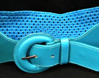 Blue belt, Women's belt, Blue cotton belt, Dress belt, Stretch belt, Wide belt, Stylish belt, Fashion belt, Cute Belt