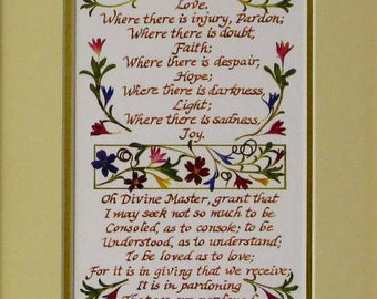 St Francis Prayer matted smaller version prayer of st francis inspirational wall decor christian gift gift for priest