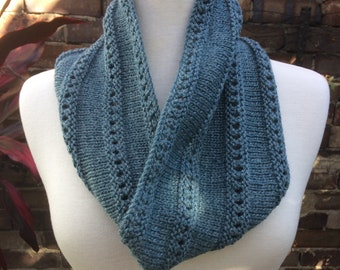 Lightweight cowl. Knitted cowl. Knitted Bamboo cowl. Knitted wool cowl. knit Circle scarf. Knit infinity scarf. Blue cowl. Autumn cowl.